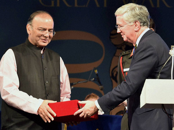 Union Minister of Defence Arun Jaitley being presented