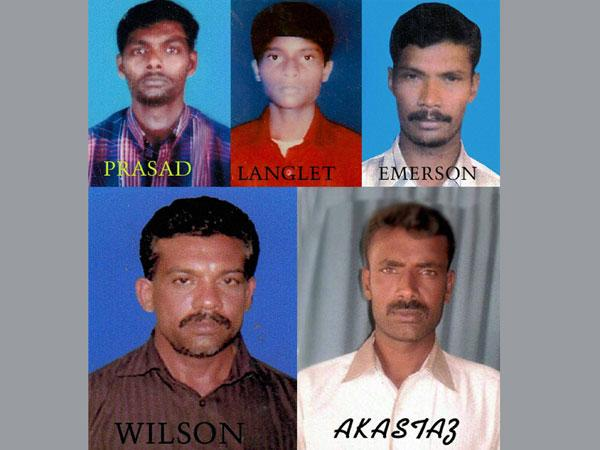 5 Indian fishermen who got death sentence.