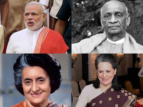 Modi, Patel, Indira and Sonia Gandhi