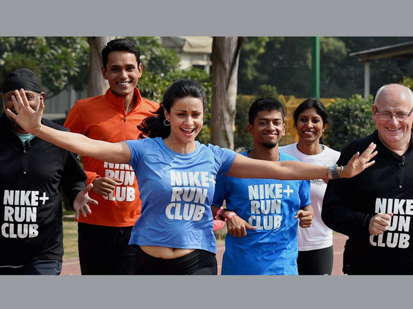 Actress Gul Panag takes part in a run