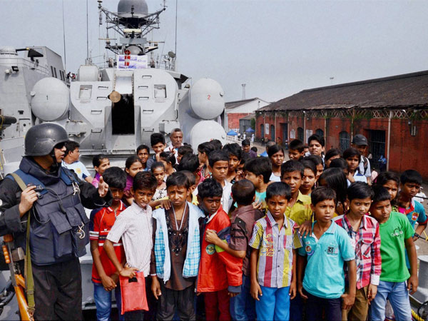 Children visiting INS Khukri at an exhibition