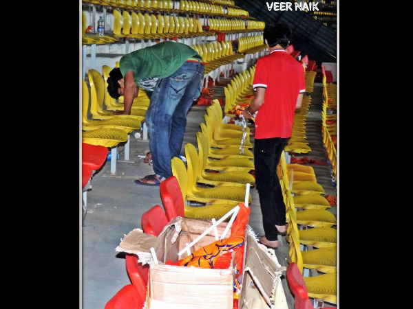 Fans cleaning the stadium. Photo by Veer Naik via Facebook