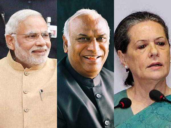 Modi, Kharge and Sonia Gandhi
