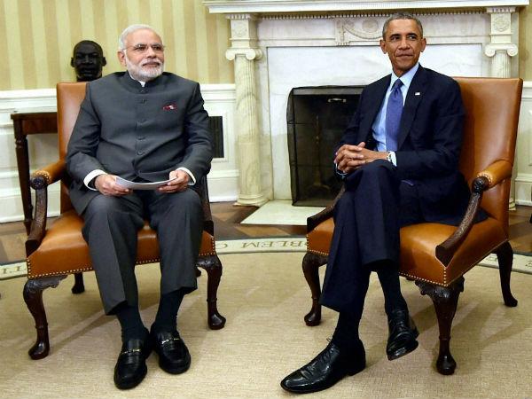 PM Modi with US President Barack Obama during his US visit.