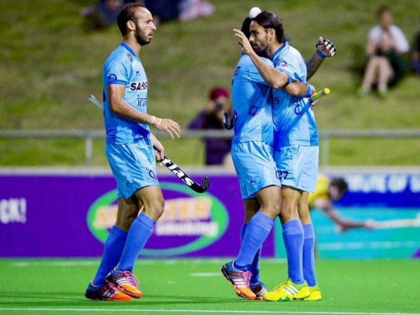 India's Ramandeep Singh and Akashdeep Singh celebrate a goal against Australia during the 3rd match at Perth hockey stadium, Perth Western Australia, on Saturday.