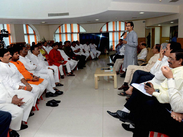 Shiv Sena MLAs sit in Oppn benches