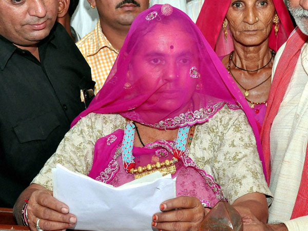 A woman filing her nomination as a BJP candidate