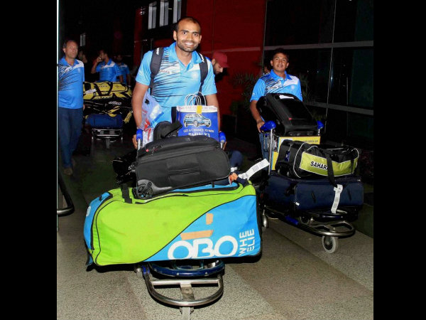 Indian hockey team members on their arrival at the Indira Gandhi International Airport in New Delhi on Tuesday after winning the test series in Australia.