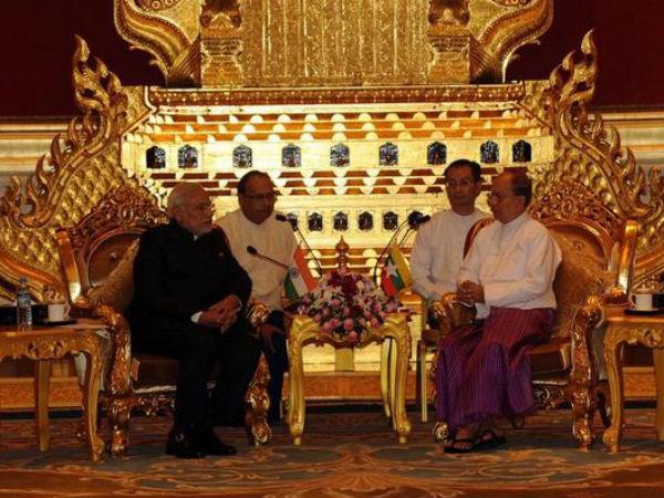 Modi meets Myanmar president Thein Sein