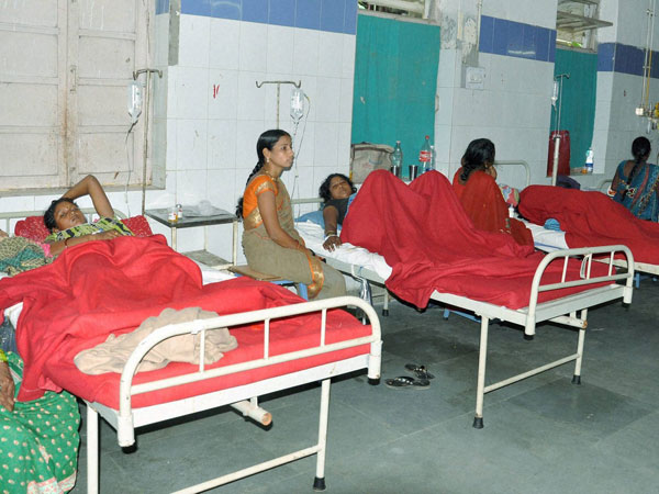 Women who underwent sterilization surgeries receive treatment at the CIMS hospital in Bilaspur in Chhattisgarh on Tuesday.