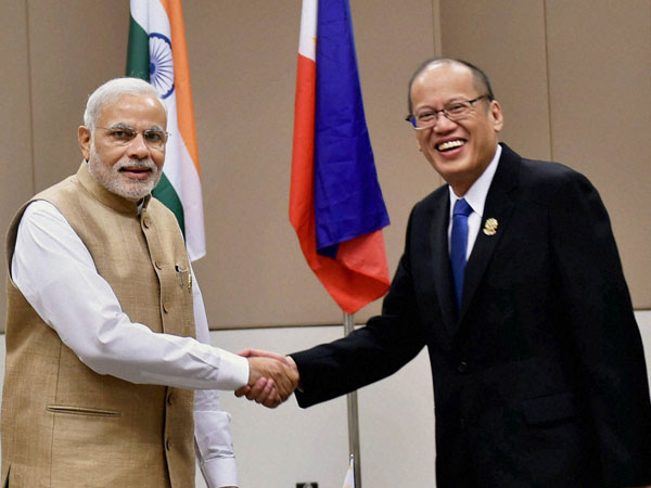 Prime Minister Narendra Modi shakes hands with President of Philippiness