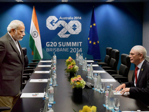 Prime Minister Narendra Modi and President of European Council, Herman Van Rompuy during a meeting in Brisbane, Australia on Friday on the sidelines of G 20 Summit. (PTI Photo by Kamal Singh)