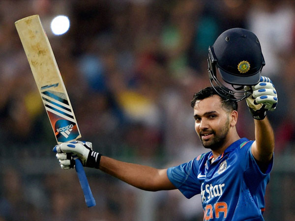 Rohit celebrating his double hundred