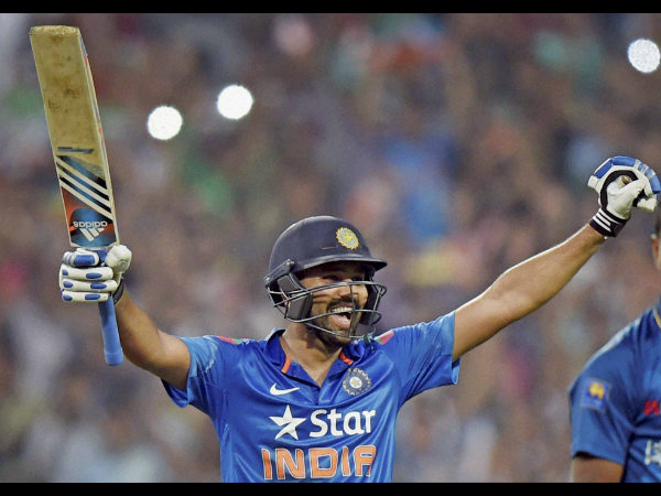 Rohit exults after hitting a double ton at Eden Gardens