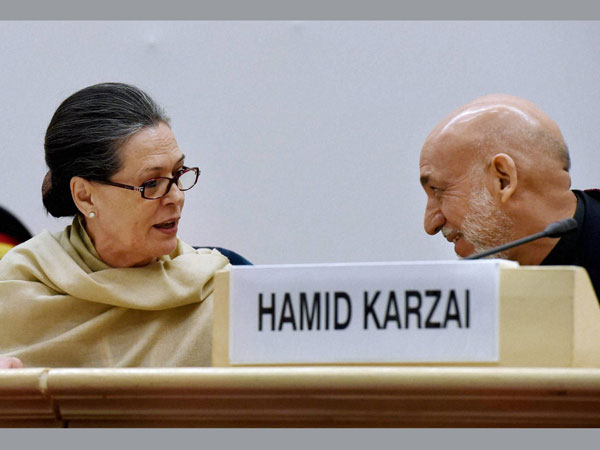 Congress President Sonia Gandhi with former Afghan President