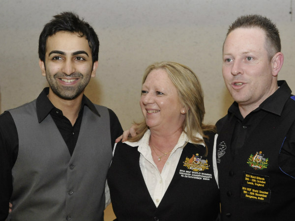 Pankaj Advani with Kathy Parashis, Matthew Bolton