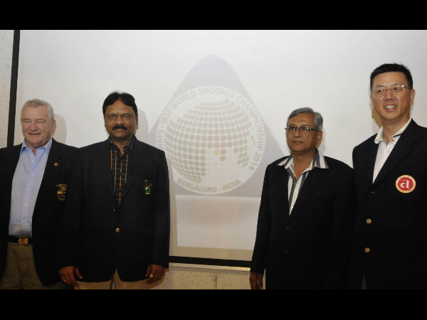 Barrie Jones, from International Billiards and Snooker Federation (IBSF), Capt PVK Mohan, President, Billiards and Snooker Federation of India (BSFI), MC Uthappa, President, Karnataka State Billiards Association (KSBA) and Joseph Lo - Asian Confederation of Billiard Sports (ACBS) - Chief Referee
