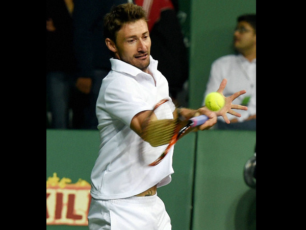 Delhi Dreams player Juan Carlos Ferrero in action against Mumbai Tennis Masters player Sergei Bruguera during the CTL match in New Delhi on Tuesday.