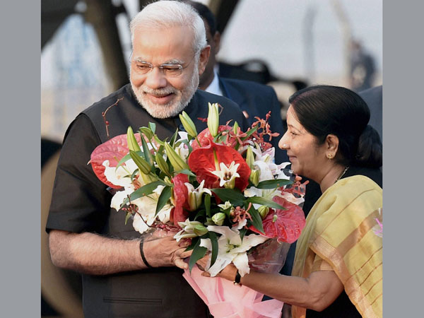 Prime Minister Narendra Modi being received