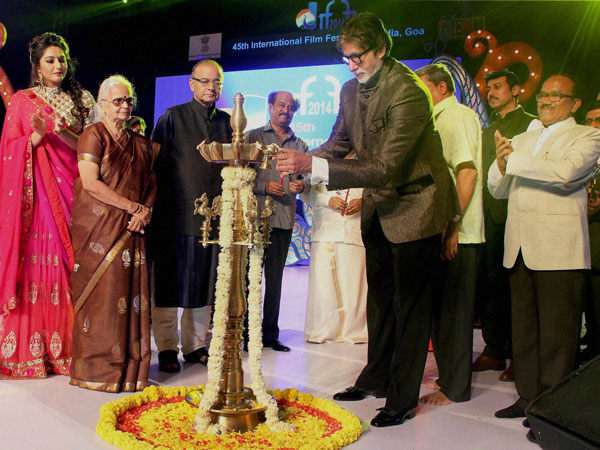 Mega actor Amitabh Bachchan lights the lamp to inaugurate