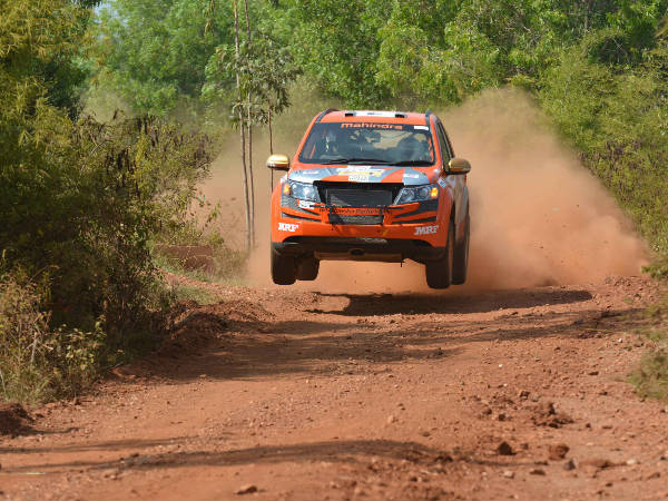 Team Mahindra Adventure's Gaurav Gill and co-driver Musa Sherif, in a Mahindra XUV 500 at K-1000 Rally on Saturday