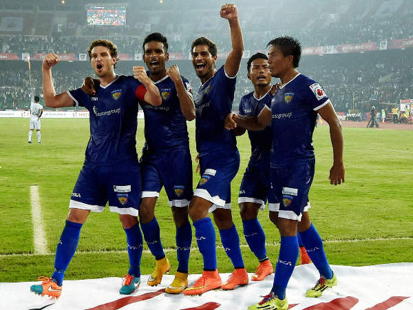 Chennaiyin FC players celebrate during an ISL match