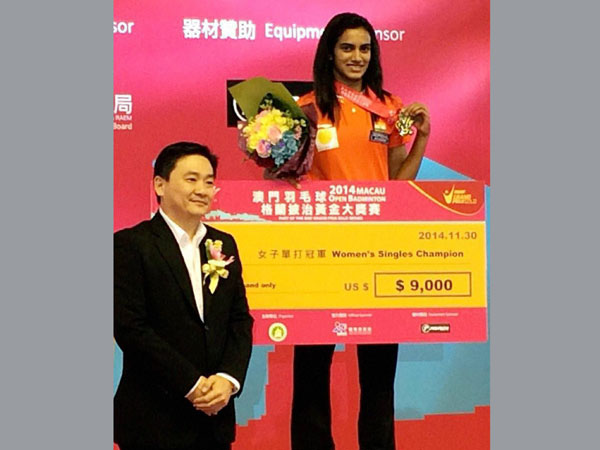 PV Sindhu with her Macau Open title