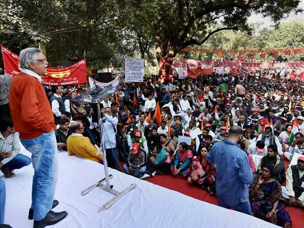 CPI leaders at a protest dharna