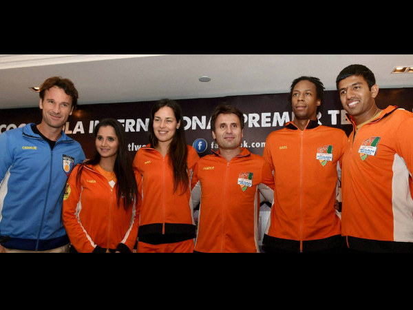 From left: Indian Aces players Carlos Moya, Sania Mirza, Ana Ivanovic, Fabrice Santoro (also coach), Gael Monfils and Rohan Boppanna pose for photographers in Delhi on Friday (December 5).