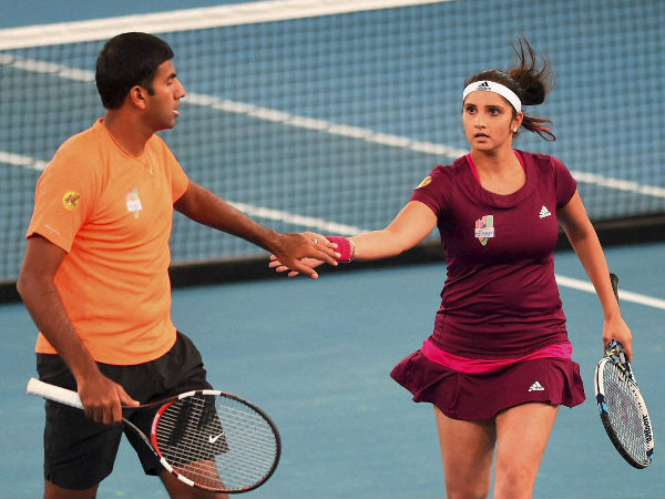 Rohan and Sania during their mixed doubles match