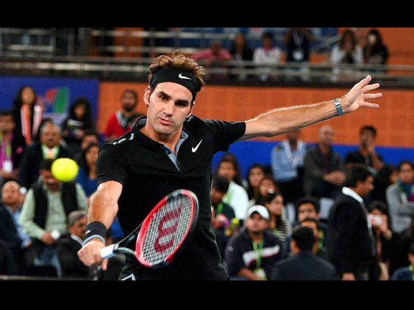 Federer in action for Indian Aces
