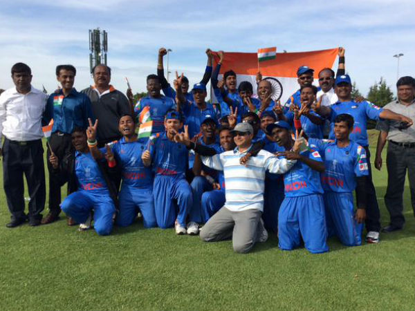 Indian players celebrate their win