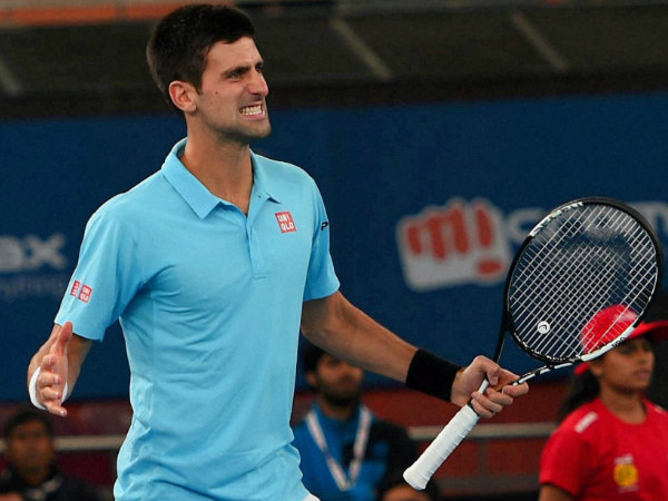 Djokovic of UAE Royals gestures during his match