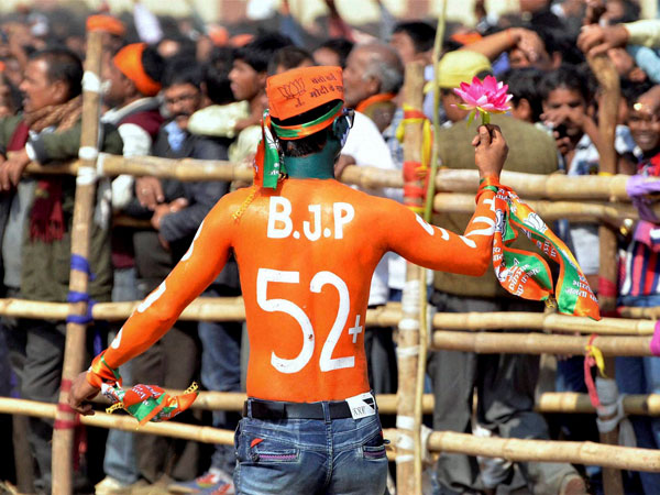 A BJP supporter in Dhanbad