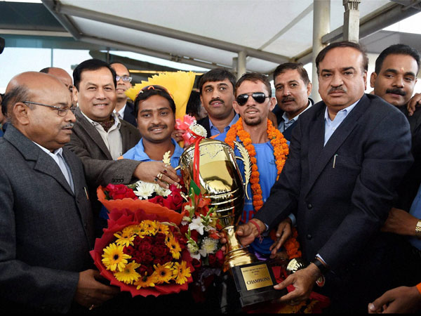 Sports Minister with Indian blind cricket team