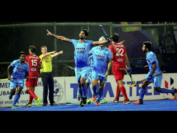 Indian players celebrate a goal against Belgium in the quarterfinal at Champions Trophy