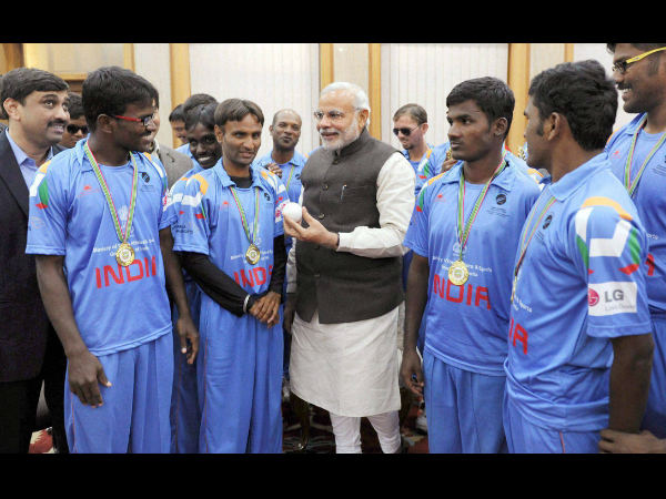 rime Minister Narendra Modi at a meeting with the members of the Blind World Cup winning Indian cricket team in New Delhi on Wednesday.
