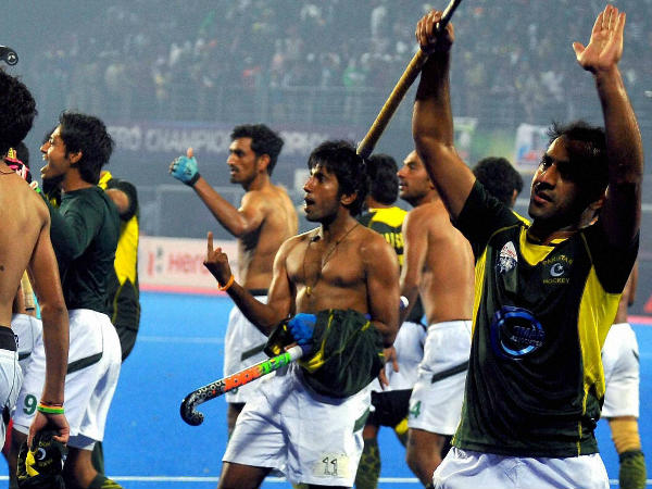 Pakistani players making obscene gestures after beating India