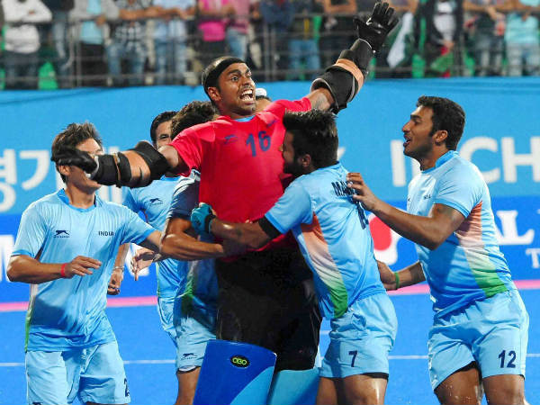 File photo of Sreejesh (16) celebrating with his team-mates