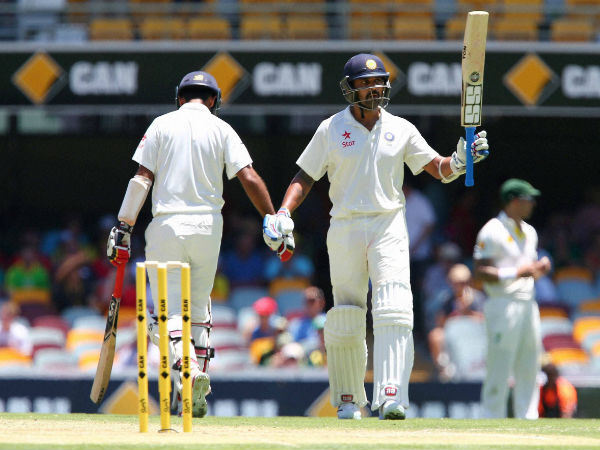 Vijay celebrates his fifty. He went on to score 144