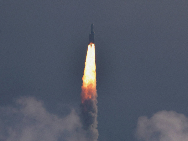 GSLV-Mark III rocket lifts off