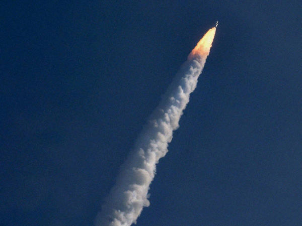Indian Space Research Organisation's GSLV-Mark III rocket lifts off