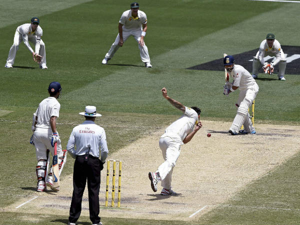 Johnson bowls to Kohli. The duo was involved in verbal volleys