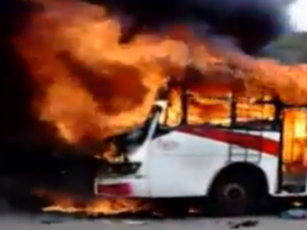 Bangalore bus catches fire