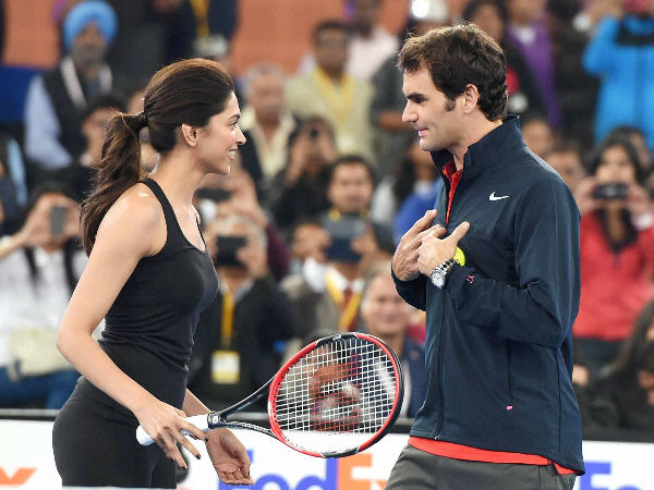 Federer with Bollywood actress Deepika Padukone