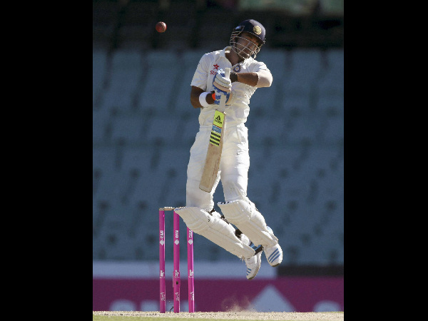 Rahul jumps to avoid a bouncer from Starc