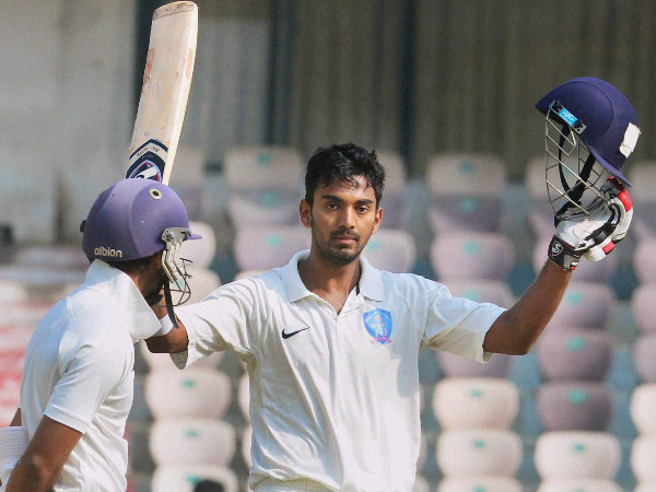 File picture of KL Rahul celebrating a ton in Ranji Trophy, for Karnataka