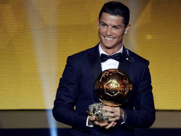 Cristiano Ronaldo with HIS 3rd Ballon d' Or Award