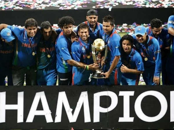 File photo of the Indian team celebrating after winning 2011 World Cup