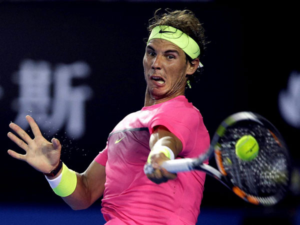 Nadal in action at the Australian Open